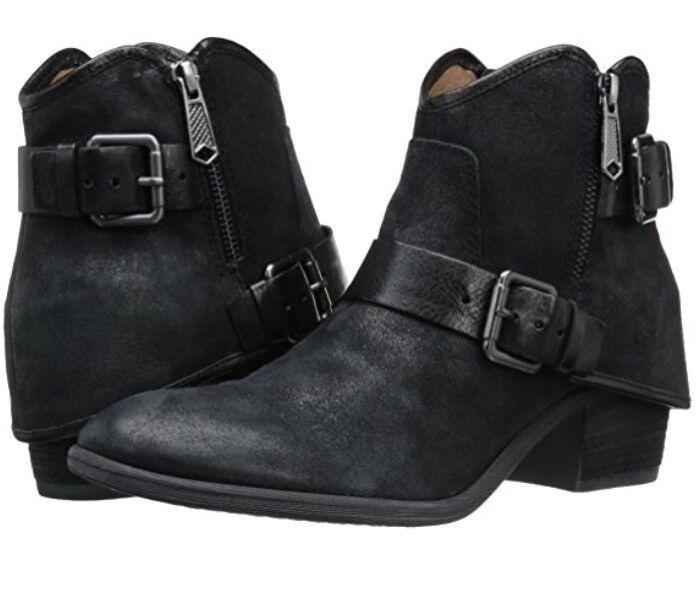 NWOB DONALD J PLINER Black DALIS Reverse Calf Leather Ankle Boots Sz 5.5 220447E