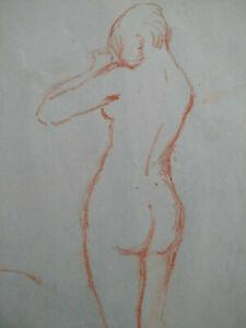 Nu grand dessin original sanguine Paris Art Déco 1920 croquis femmes curiosa