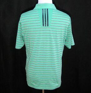 ADIDAS-Mens-Medium-Green-Striped-Short-Sleeve-ClimaCool-Polo-Shirt-Golf-Tennis
