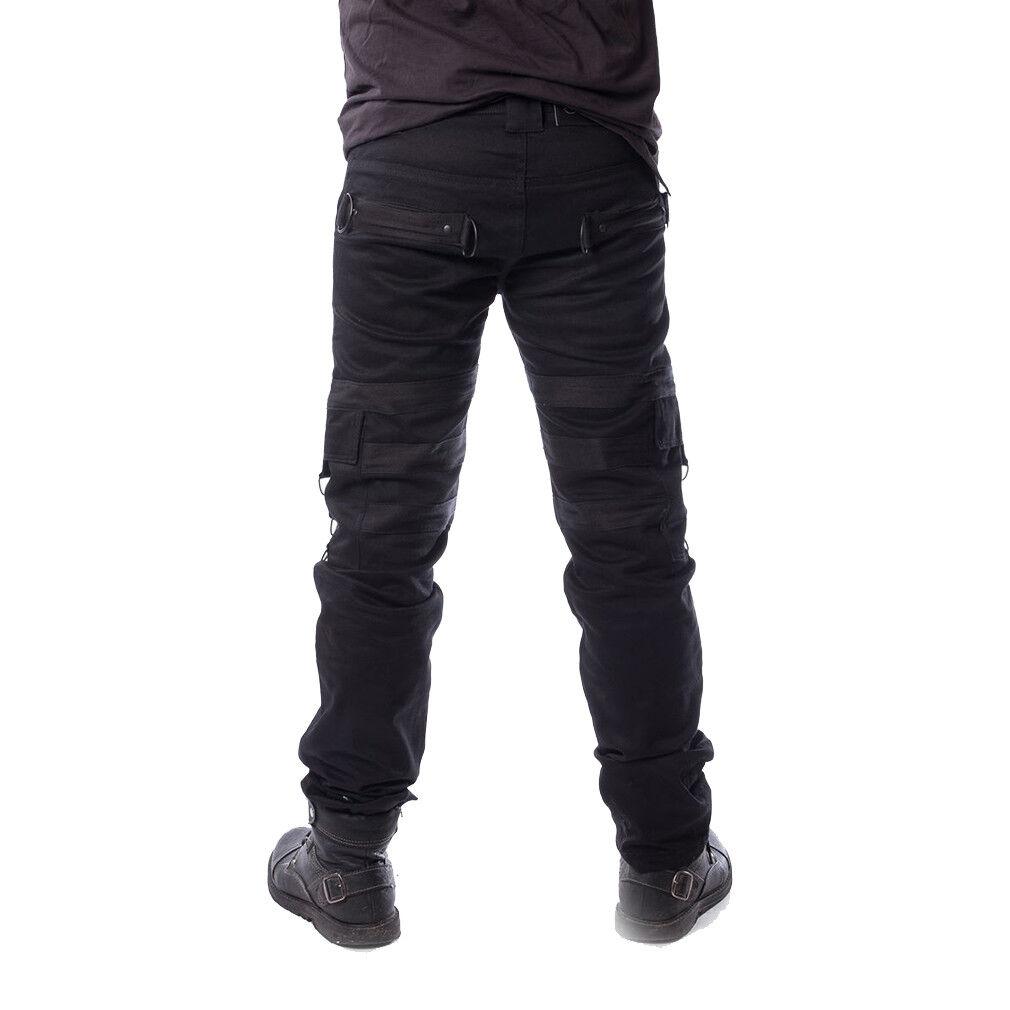 Vixxsin Gothic Goth Goth Goth Punk Festival Denim Jeans Hose - Liam Riemen Schwarz 3444b7