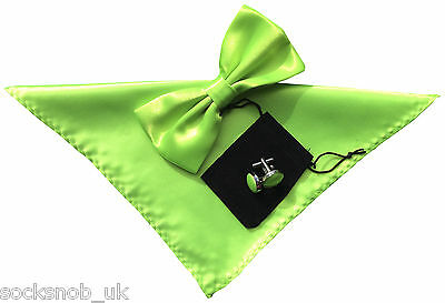 Mens Bow Tie Handkerchief and cuff links set Plain Neon Green No.40