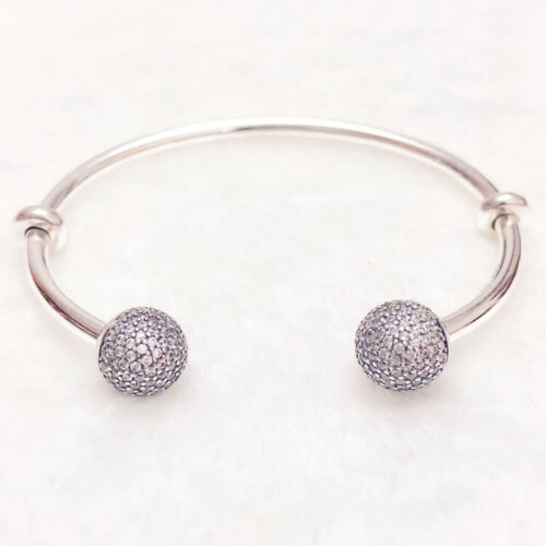 Authentic 100/% 925 Sterling Silver Pave Caps Moments Open Clear CZ Bangle