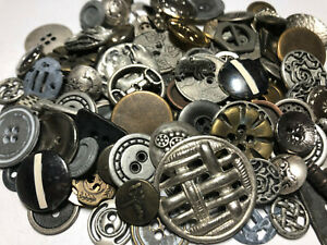 100-RARE-MIXED-LOT-Of-Metal-Buttons-OLD-VINTAGE-amp-NEW