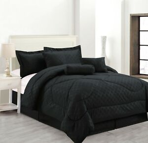 Luxury Hotel Bedding Sets.Details About 7 Piece Solid Luxury Hotel Comforter Set Bed In A Bag All Sizes Black