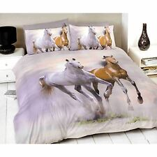 GALLOPING HORSES KING SIZE DUVET COVER SET NEW
