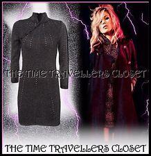 Kate Moss Topshop Black Silver Lurex Knitted Oriental Cheongsam Dress UK 8 10 12