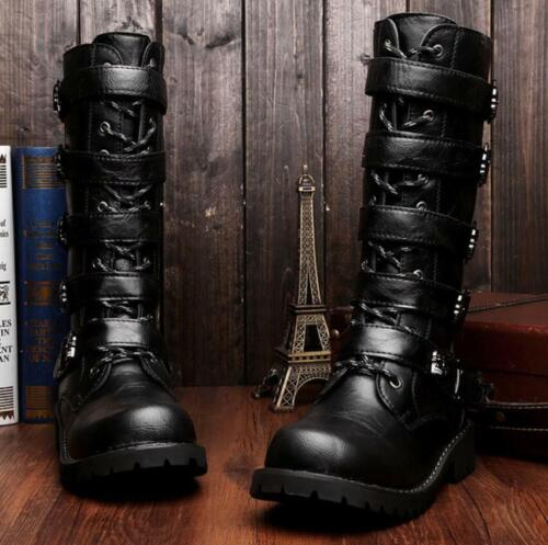 Gothic Mens Punk Rock Biker Knee High Army Combat Buckle Boots Military Shoes