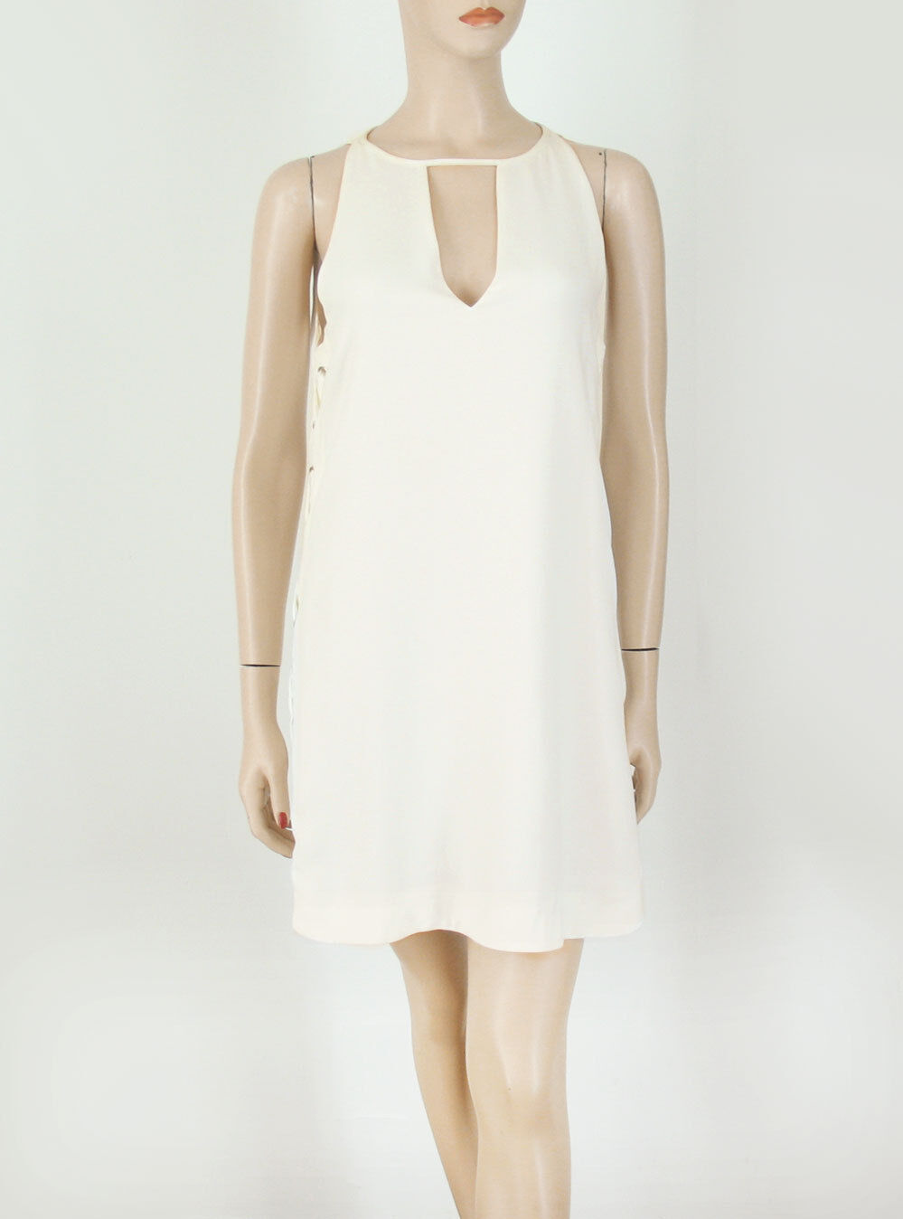 Parker Riviera Side Lace Up Dress Sleeveless Pearl Ivory S 8956 -Minor Flaw
