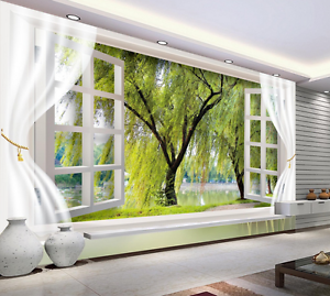 3D Green Willow Leaves Wall Paper Wall Print Decal Wall AJ WALLPAPER CA