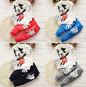 46f739228 2Pcs Baby Boys Girls Mickey Mouse Coat + Pants Set Kids Casual ...