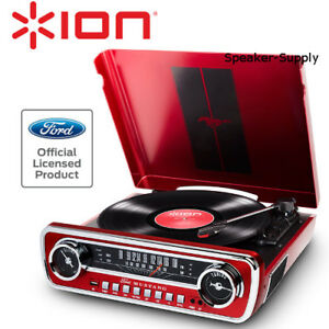 Ion-Ford-Mustang-LP-1965-Turntable-Record-Player-AM-FM-Radio-Red-USB-Aux-3-Speed