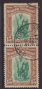 North-Borneo-15-cent-1959-issue-sg-31-vertical-pair-CV-17-each-1941-CDS