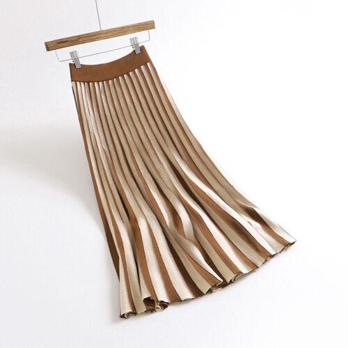 Meghan Markle Concertina Fine Pleated Knitted Stripe Royal Navy Blue Midi Skirt