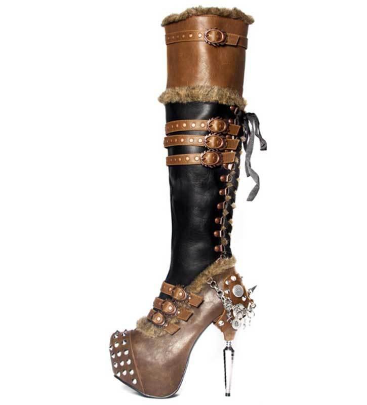 Hades Ventail Muslo botas botas botas Altas Marrón Negro Picos De Plataforma Con Cordones Imitación Piel  Ven a elegir tu propio estilo deportivo.
