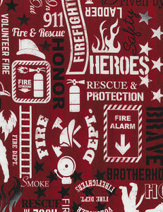 Fireman Fabric Fire Safety Word Patch Red Timeless