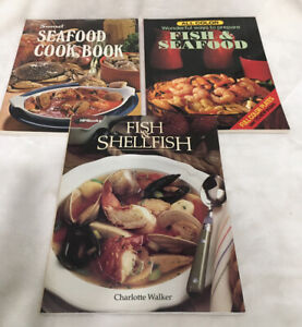 3 Vintage Cook Books-Fish & Shellfish, Seafood Cook Book, Fish & Seafood