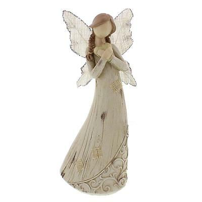Wood Carved Angels Girl With Heart Figurine 61029