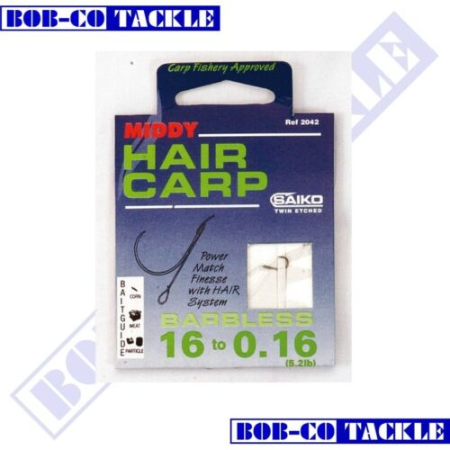Middy Barbless Carp Hair Hook To Nylon