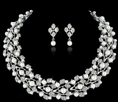 Bridal Wedding Necklace Earring Jewellery Set Luxury Party Crystal and Pearl