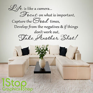 LIFE IS LIKE A CAMERA WALL STICKER QUOTE - BEDROOM HOME WALL ART ...