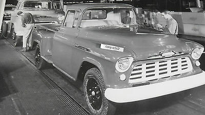 "1956 Chevrolet Assembly Line, Pickup Truck 12X18"" Black & White Picture"