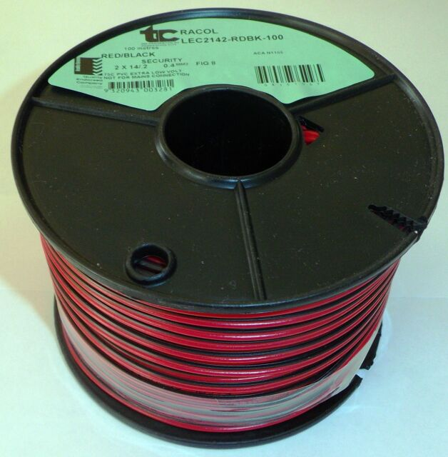 NEW 100m  LIGHT DUTY  SPEAKER or SECURITY  WIRE ( RED & BLACK ) FIG 8 (14x0.2mm)