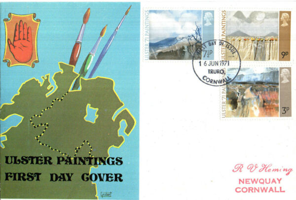 16 Juin 1971 Ulster Peintures Grubert First Day Cover Truro Cornwall Ide
