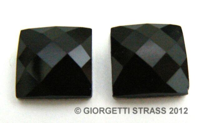 STRASS NERO 12mm x 12mm 10pz cabochon pietra Termoadesivi  hotfix quadrato
