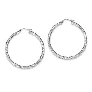 925-Sterling-Silver-Rhodium-Finish-Diamond-Cut-3mm-x-45mm-Polished-Hoop-Earrings