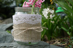 5 HESSIAN & LACE Glass Jars Tea Light Holders Wedding Tea ...