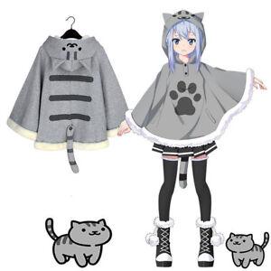 Neko-Atsume-Cute-Cat-Backyard-Anime-Kawaii-Warm-Cotton-Cloak-Sweater-Coat-New