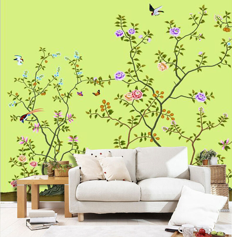 3D Flowers, birds 233 Wall Paper Wall Print Decal Wall Deco Indoor Wall Murals
