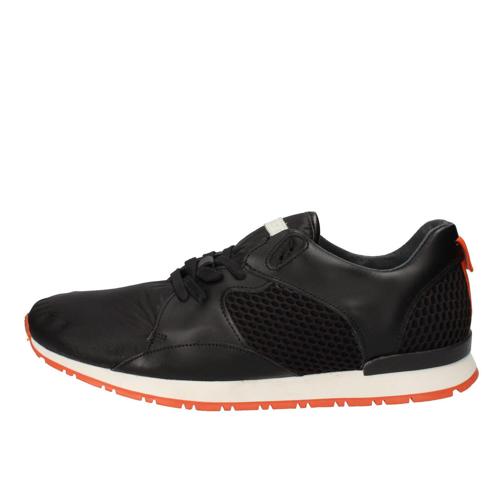 Women 8 men's 9.5 shoes D.A.T.E. date EU 41 sneakers black leather AE532-B
