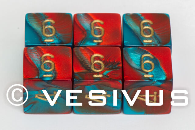 DICE Chessex GEMINI RED & TEAL BLUE Six 6-Dice Set Swirl 6d6 26462 RPG