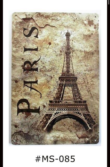 Paris Eiffel Tower Tin Sign Metal Sign Metal Poster Metal Decor