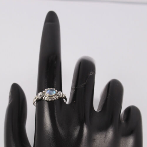 US 6 34 UK size N Sterling silver Rainbow Moonstone ring