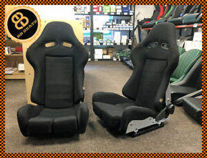 BB7-Fibreglass-Fabric-RECLINING-Racing-Bucket-Sports-Seats-Black-Universal-PAIR