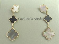 Van Cleef & Arpels 18Kt Magic Alhambra 3-Motif Onyx White & Gray MOP Earrings