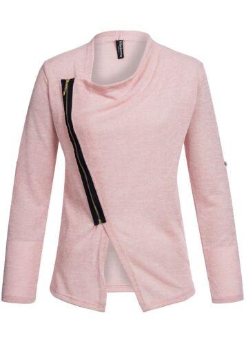 50/% OFF B15020390 Damen Madonna Jacke Cardigan Turn-Up Kontrast Zipper rose