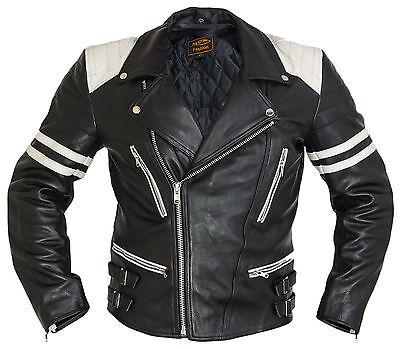 Retro-Motorrad-Lederjacke-80-´s Herren oldschool Rockerjacke Chopper Leatherjac