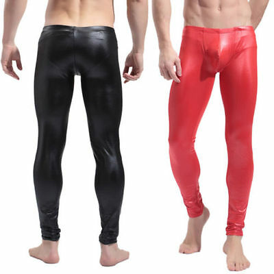 Men PVC Fetish Leggings Bodycon Slim Stretch Muscle Dancing Long Pants Clubwear