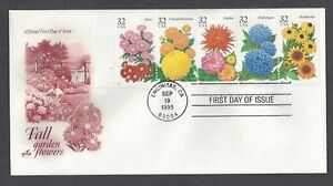 2993-2997-First-Day-Cover-Fall-Garden-Flowers-booklet-pane-plate-2