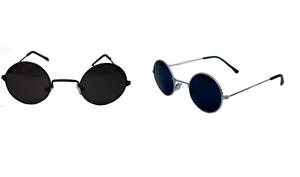 KIDS-John-Lennon-Sunglasses-Round-Shades-Black-or-Silver-Frame-Smoked-Lenses