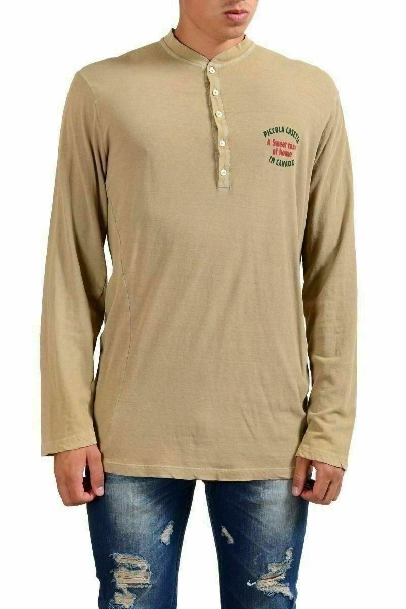 Dsquared2 Uomo Beige OverDimensione Sdrucito Henley Camicia Casual USA M It 50