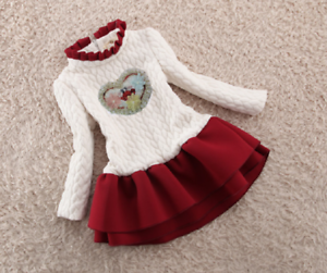 Childrens Kids Girls Thick Knitted Valentines Day Heart Flower Tutu Dress ZG8