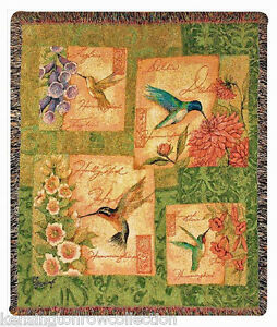 THROWS - HUMMINGBIRD TAPESTRY THROW - BIRD AND FLORAL THROW BLANKET