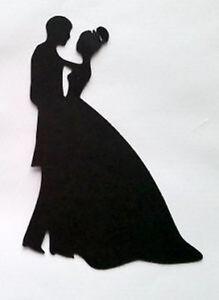8 x Mariée et Marié Mariage SILHOUETTE #8 Die Cuts Qualité Carte Noire