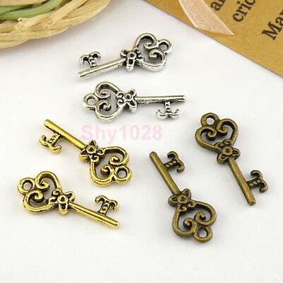 15Pcs Tibetan Silver,Antiqued Gold,Bronze Heart Key Charms Pendants M1524
