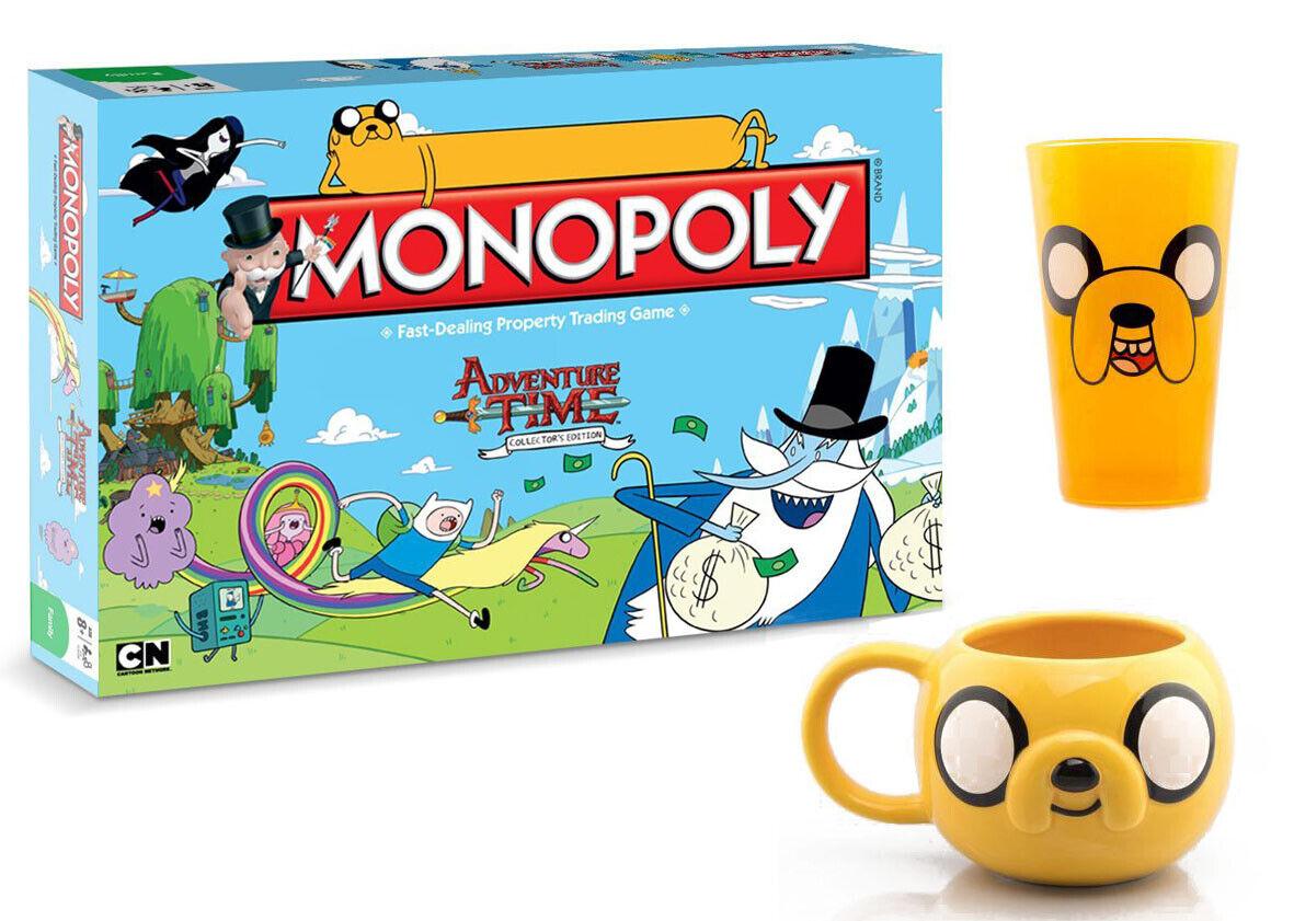 Monopoly Adventure Time (Inglese) + Zusatzartikel Premium Tazza Vetro Jake