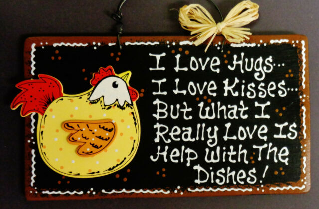 ROOSTER SIGN Hugs//Kisses//Dishes KITCHEN PLAQUE Wall Hanger Country Chicken Decor
